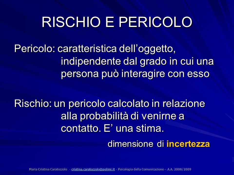 RISCHIO E PERICOLO Pericolo: caratteristica dell'oggetto, indipendente dal grado in cui una persona può interagire con esso.