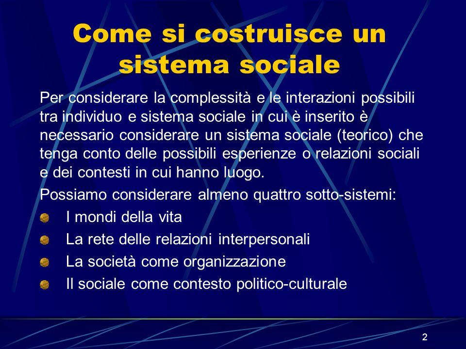 Come si costruisce un sistema sociale