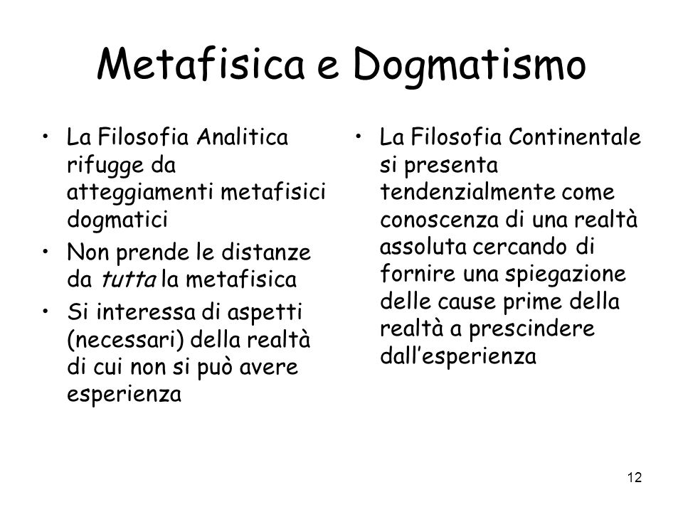 Metafisica e Dogmatismo