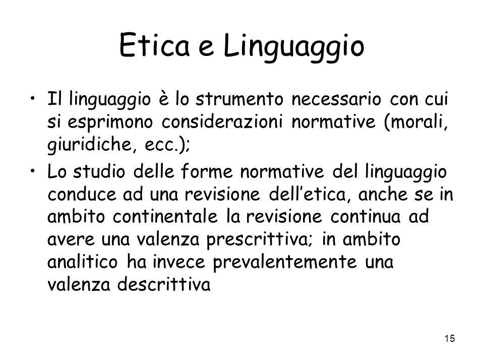 Etica e Linguaggio Il linguaggio è lo strumento necessario con cui si esprimono considerazioni normative (morali, giuridiche, ecc.);