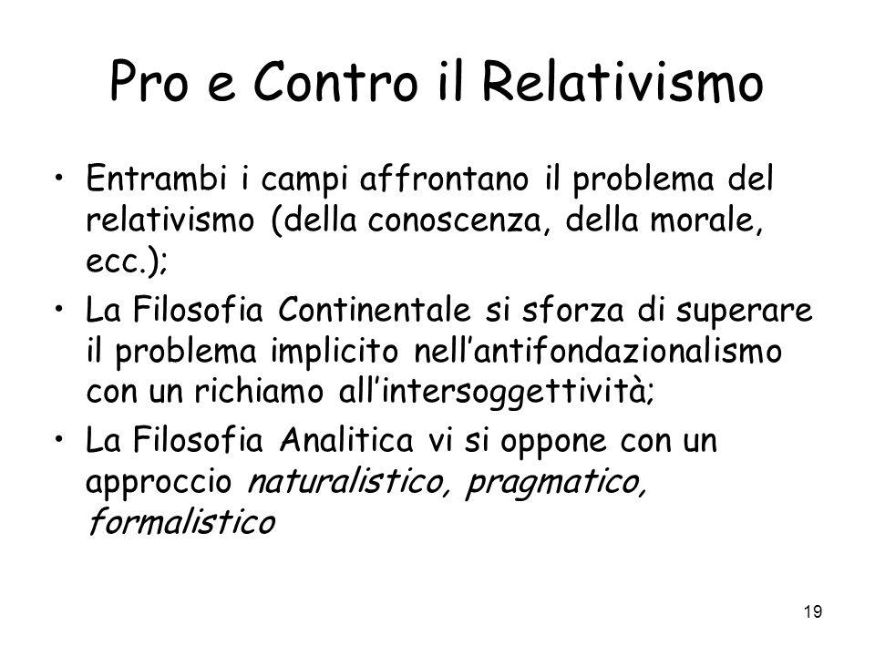 Pro e Contro il Relativismo