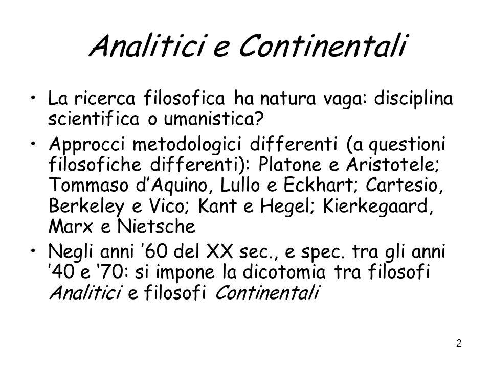 Analitici e Continentali