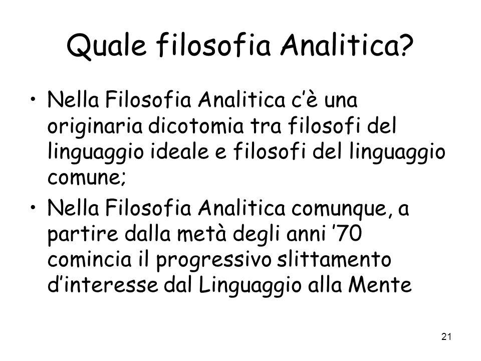 Quale filosofia Analitica