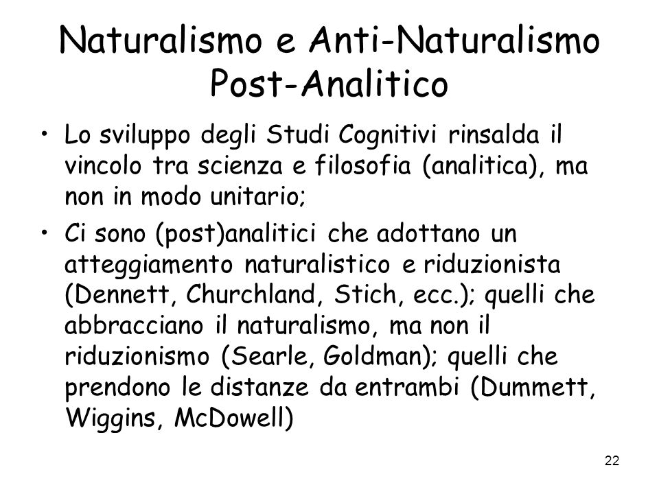 Naturalismo e Anti-Naturalismo Post-Analitico