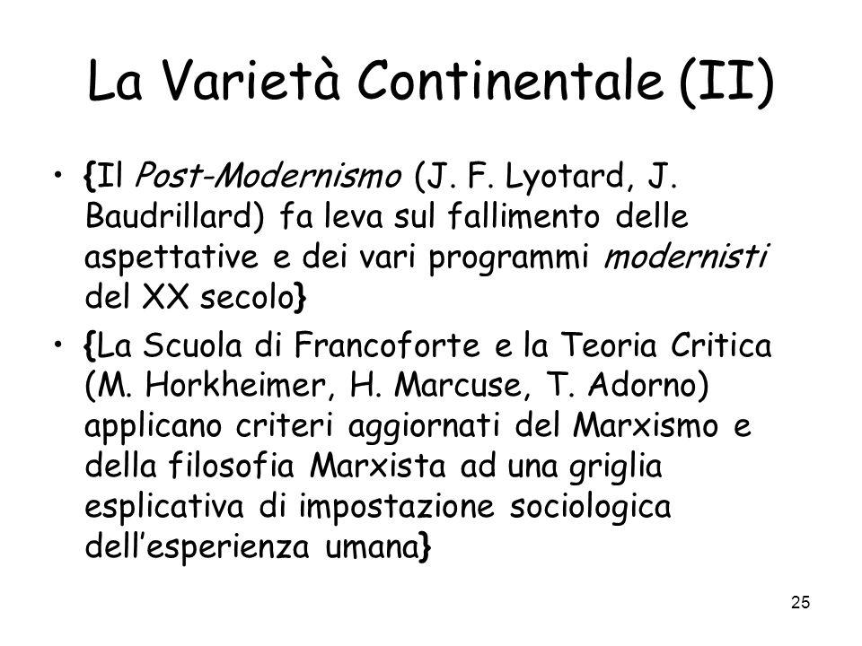 La Varietà Continentale (II)
