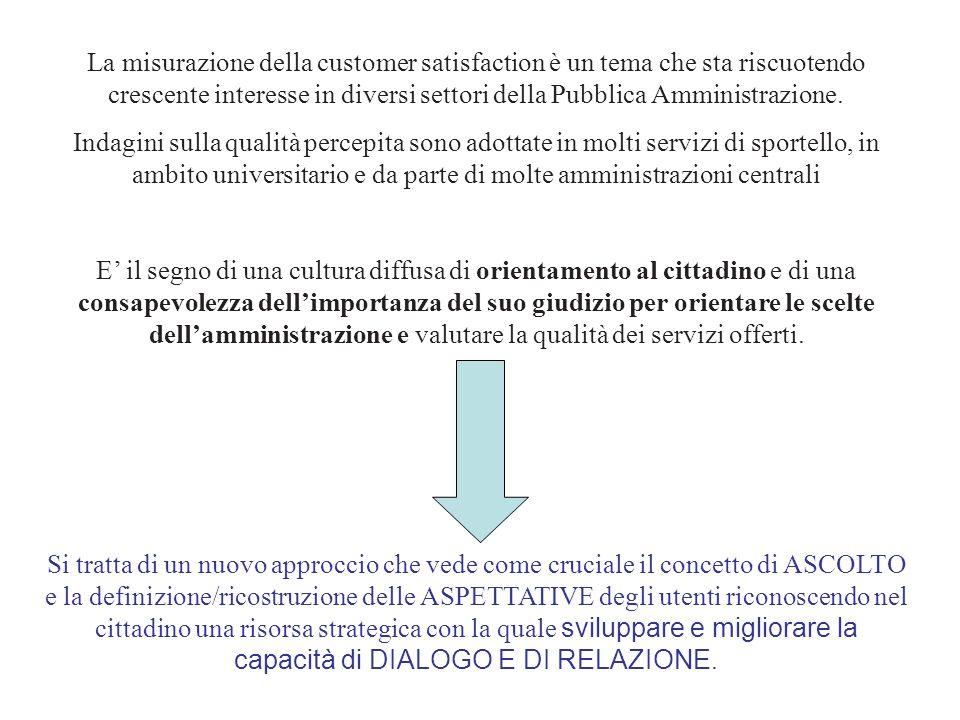 La misurazione della customer satisfaction è un tema che sta riscuotendo crescente interesse in diversi settori della Pubblica Amministrazione.