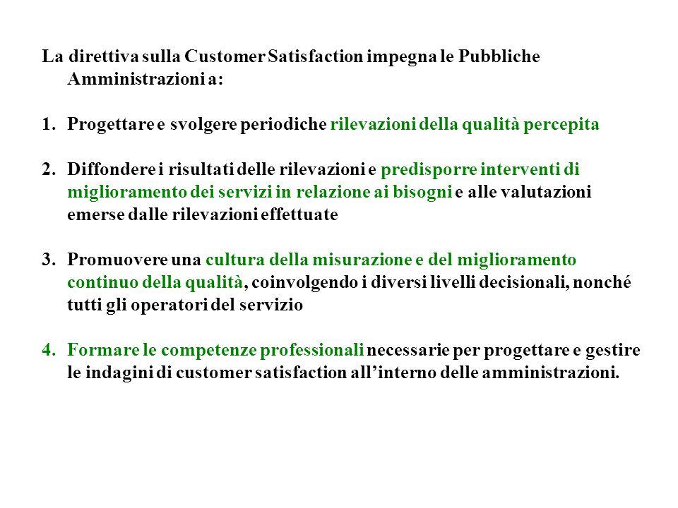La direttiva sulla Customer Satisfaction impegna le Pubbliche Amministrazioni a: