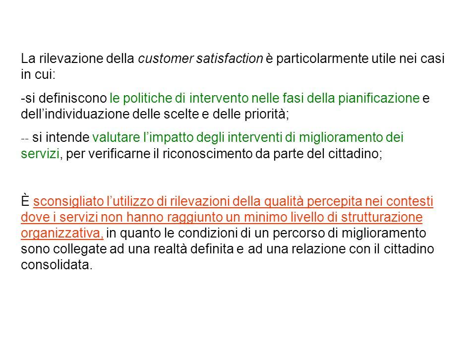 La rilevazione della customer satisfaction è particolarmente utile nei casi in cui: