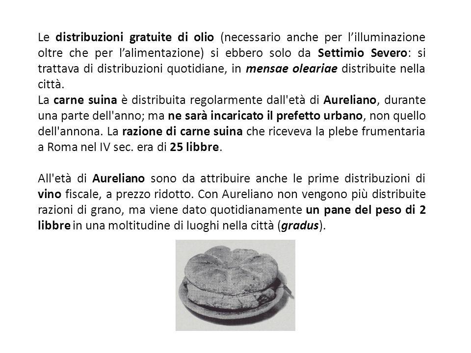 Le distribuzioni gratuite di olio (necessario anche per l'illuminazione oltre che per l'alimentazione) si ebbero solo da Settimio Severo: si trattava di distribuzioni quotidiane, in mensae oleariae distribuite nella città.