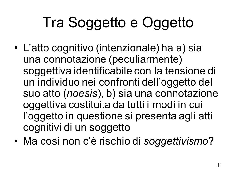 Tra Soggetto e Oggetto