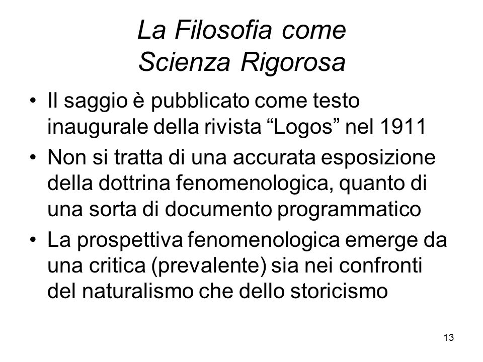 La Filosofia come Scienza Rigorosa