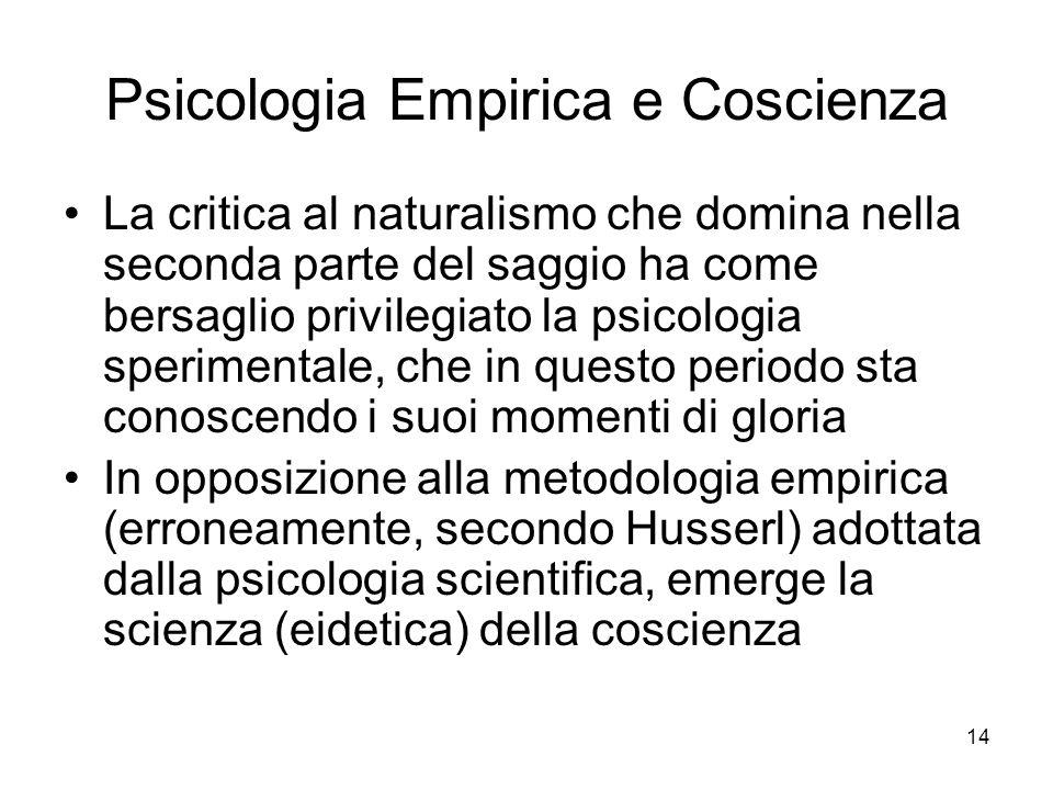 Psicologia Empirica e Coscienza