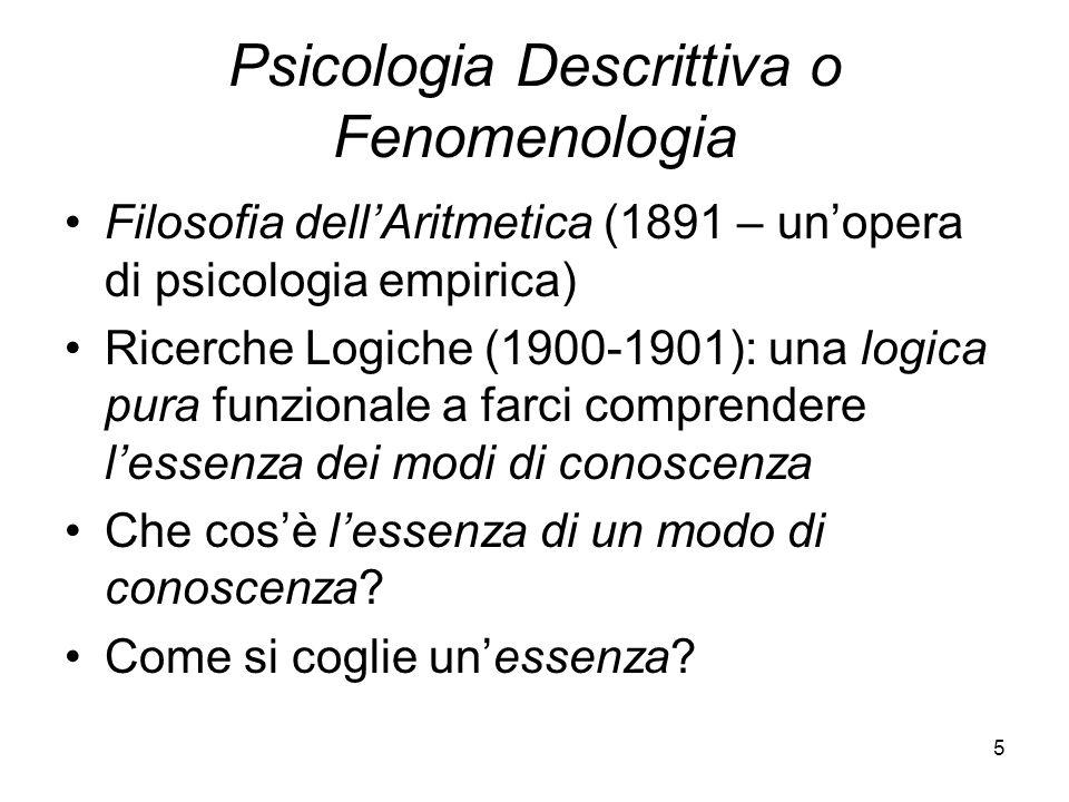 Psicologia Descrittiva o Fenomenologia