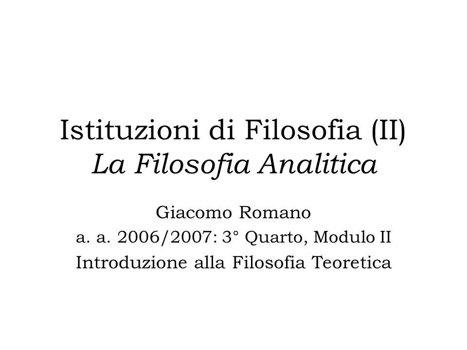 Istituzioni di Filosofia (II) La Filosofia Analitica