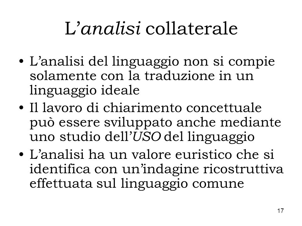 L'analisi collaterale