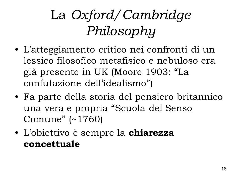 La Oxford/Cambridge Philosophy