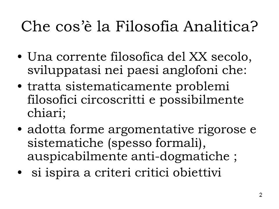 Che cos'è la Filosofia Analitica