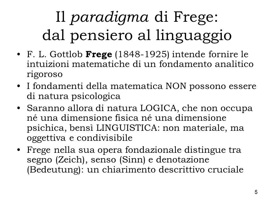 Il paradigma di Frege: dal pensiero al linguaggio