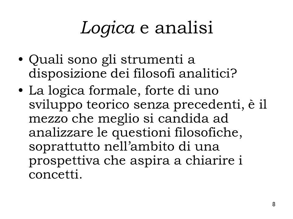 Logica e analisi Quali sono gli strumenti a disposizione dei filosofi analitici