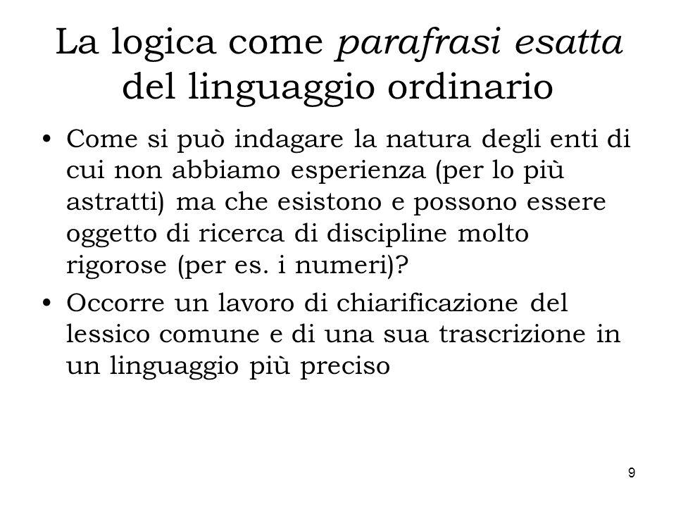 La logica come parafrasi esatta del linguaggio ordinario