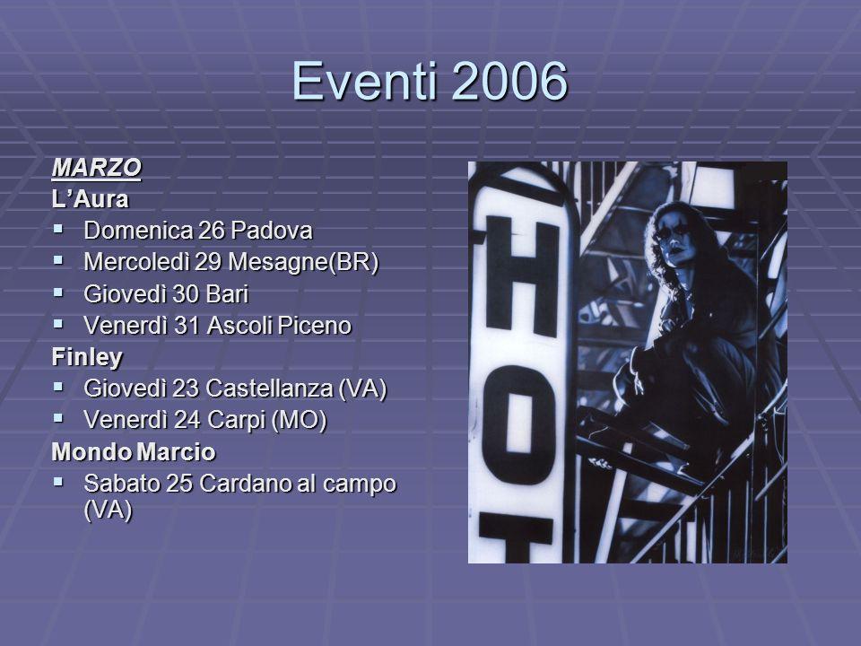 Eventi 2006 MARZO L'Aura Domenica 26 Padova Mercoledì 29 Mesagne(BR)