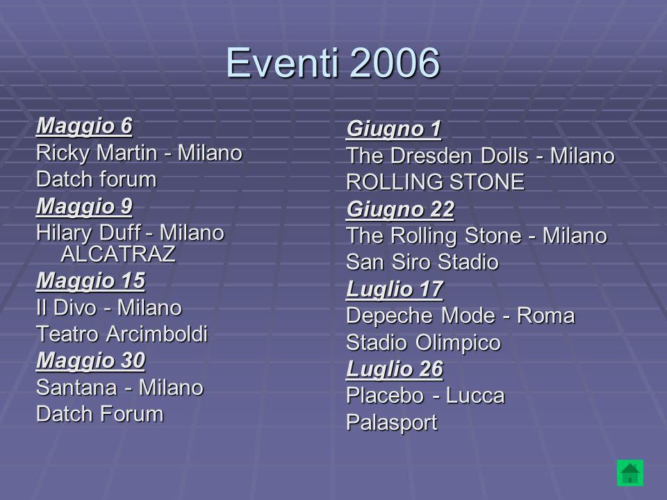 Eventi 2006 Maggio 6 Giugno 1 Ricky Martin - Milano
