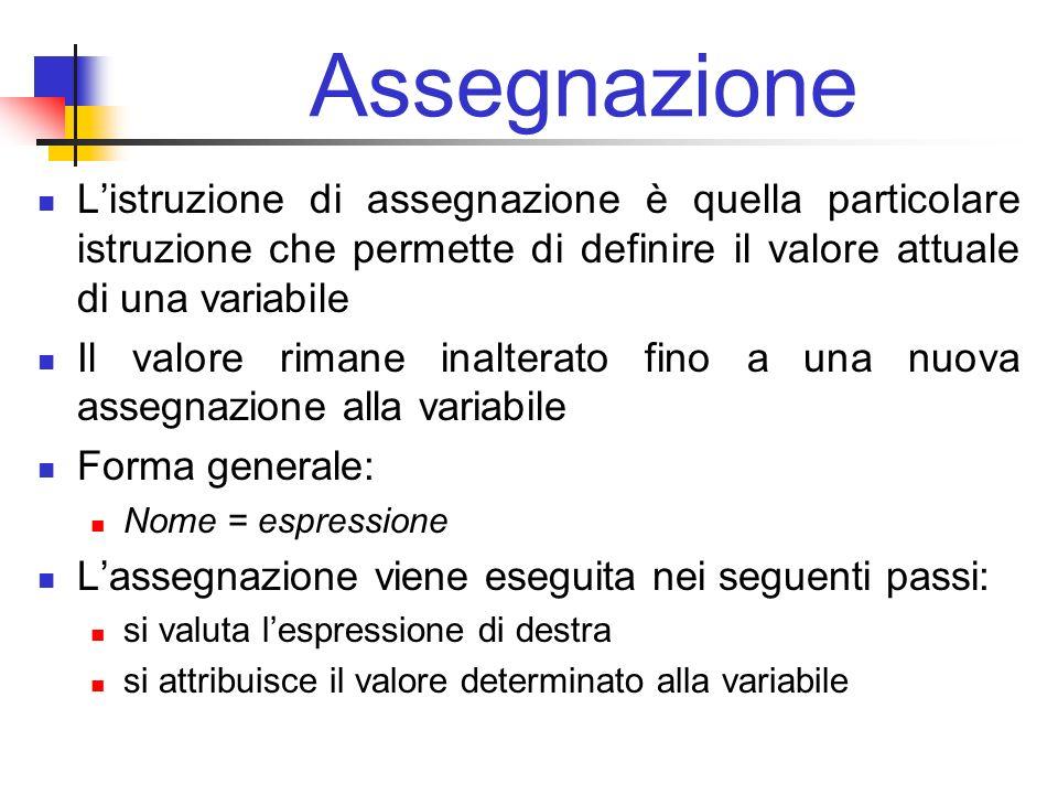 Assegnazione L'istruzione di assegnazione è quella particolare istruzione che permette di definire il valore attuale di una variabile.