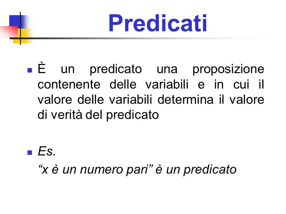 Predicati È un predicato una proposizione contenente delle variabili e in cui il valore delle variabili determina il valore di verità del predicato.