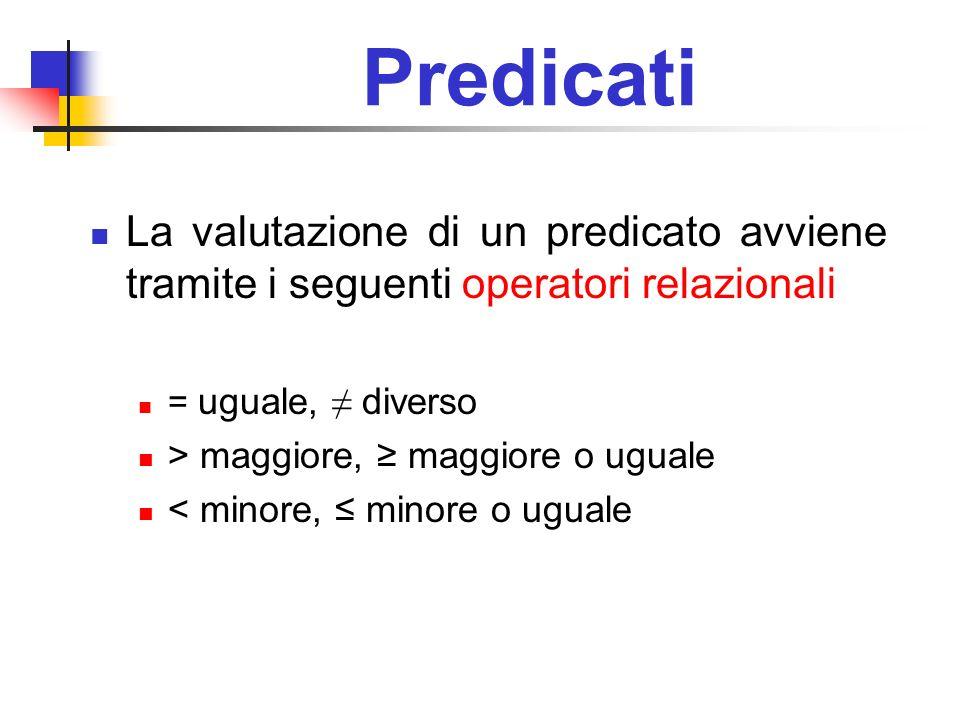 Predicati La valutazione di un predicato avviene tramite i seguenti operatori relazionali. = uguale, ≠ diverso.