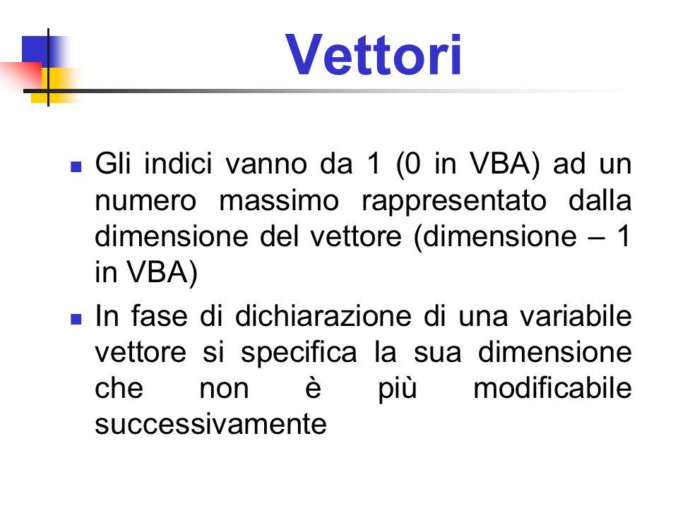 Vettori Gli indici vanno da 1 (0 in VBA) ad un numero massimo rappresentato dalla dimensione del vettore (dimensione – 1 in VBA)