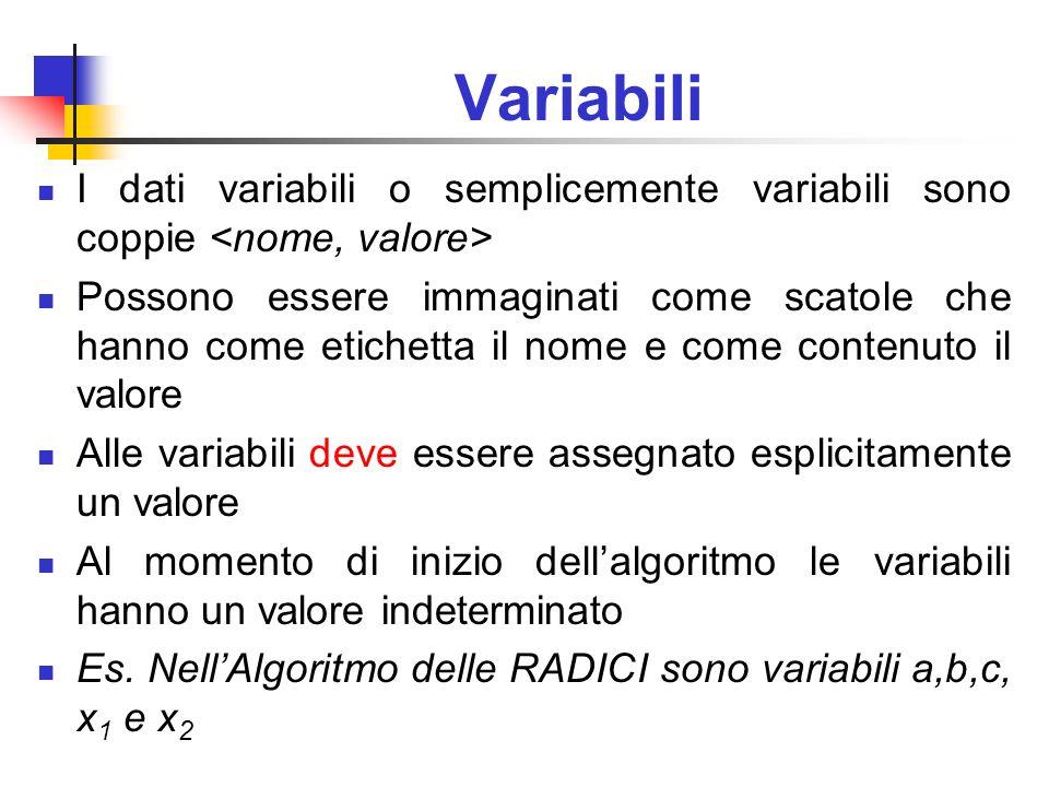 Variabili I dati variabili o semplicemente variabili sono coppie <nome, valore>