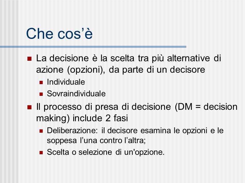 Che cos'è La decisione è la scelta tra più alternative di azione (opzioni), da parte di un decisore.
