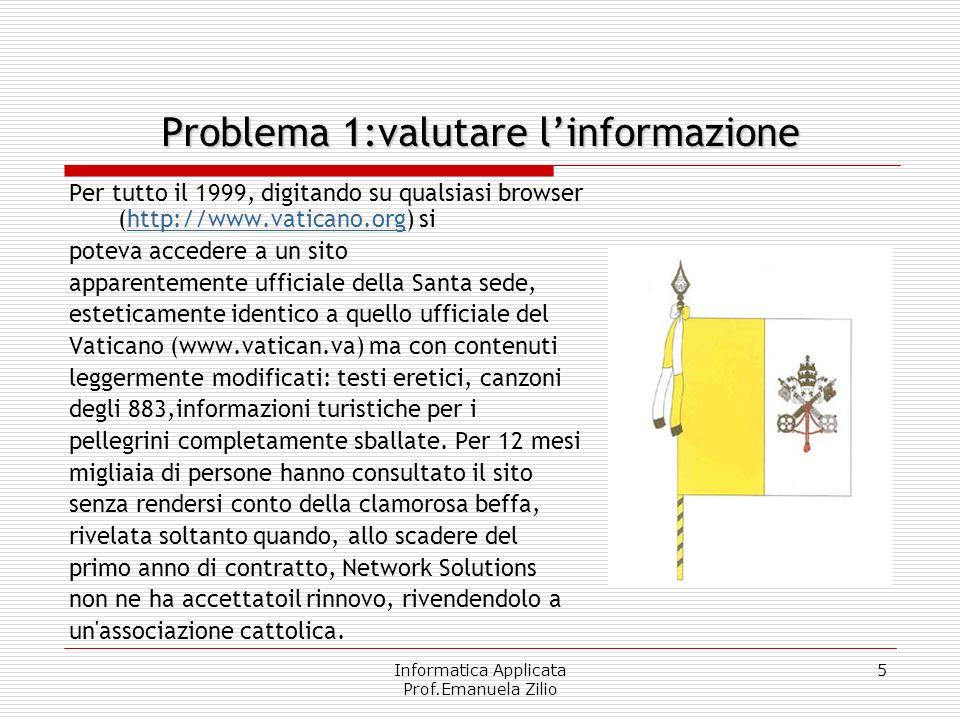 Problema 1:valutare l'informazione