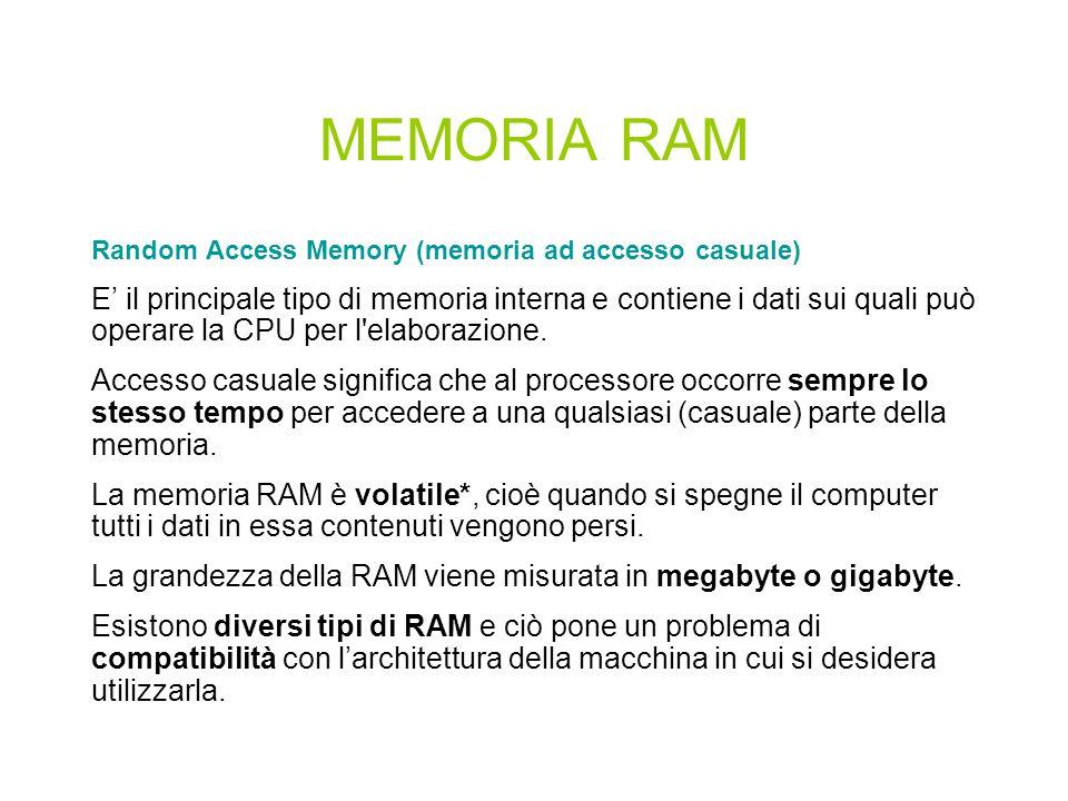 MEMORIA RAM Random Access Memory (memoria ad accesso casuale)