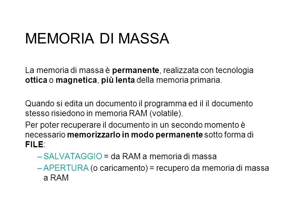 MEMORIA DI MASSA La memoria di massa è permanente, realizzata con tecnologia ottica o magnetica, più lenta della memoria primaria.