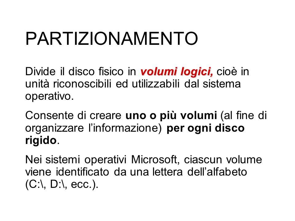 PARTIZIONAMENTO Divide il disco fisico in volumi logici, cioè in unità riconoscibili ed utilizzabili dal sistema operativo.