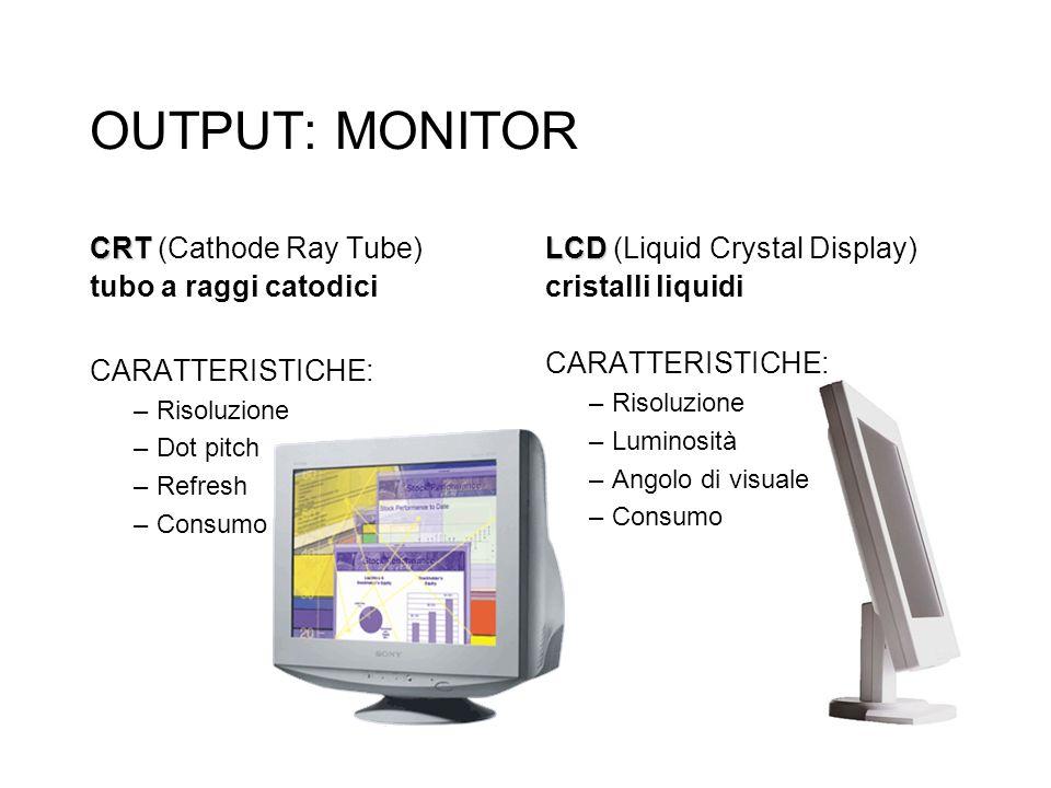 OUTPUT: MONITOR CRT (Cathode Ray Tube) tubo a raggi catodici