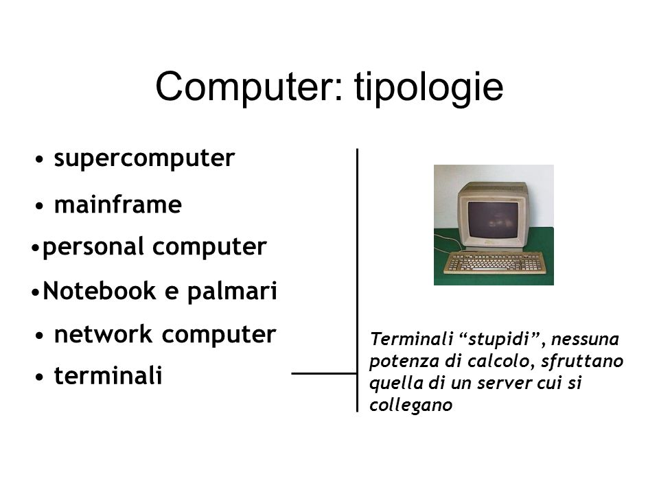 Computer: tipologie supercomputer mainframe personal computer