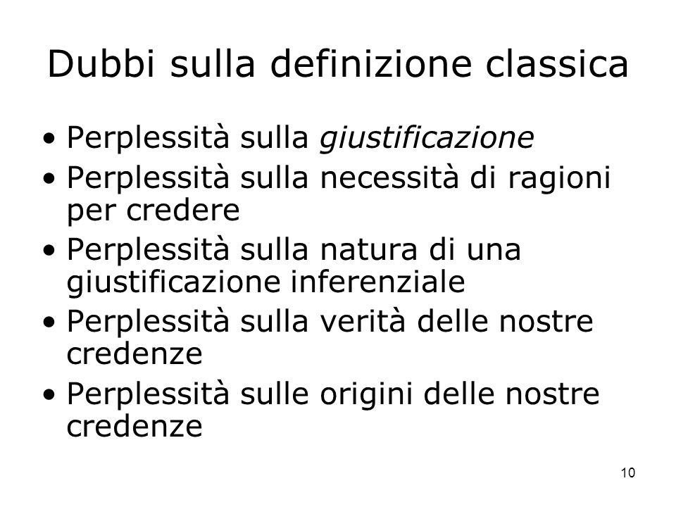 Dubbi sulla definizione classica
