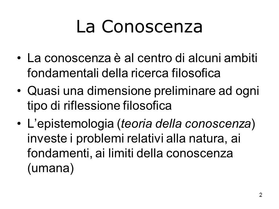 La Conoscenza La conoscenza è al centro di alcuni ambiti fondamentali della ricerca filosofica.
