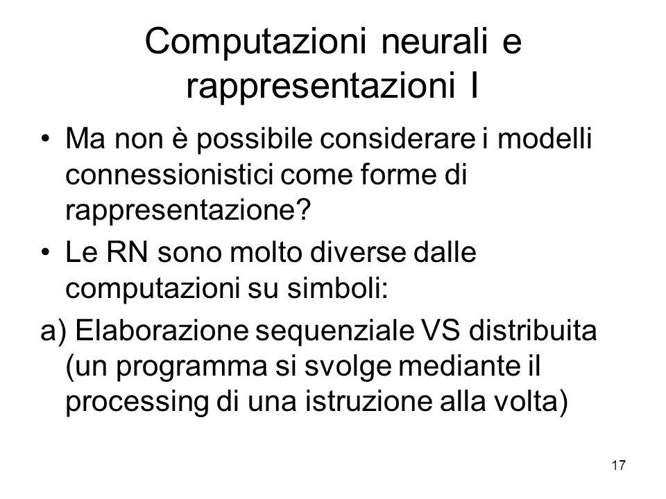 Computazioni neurali e rappresentazioni I