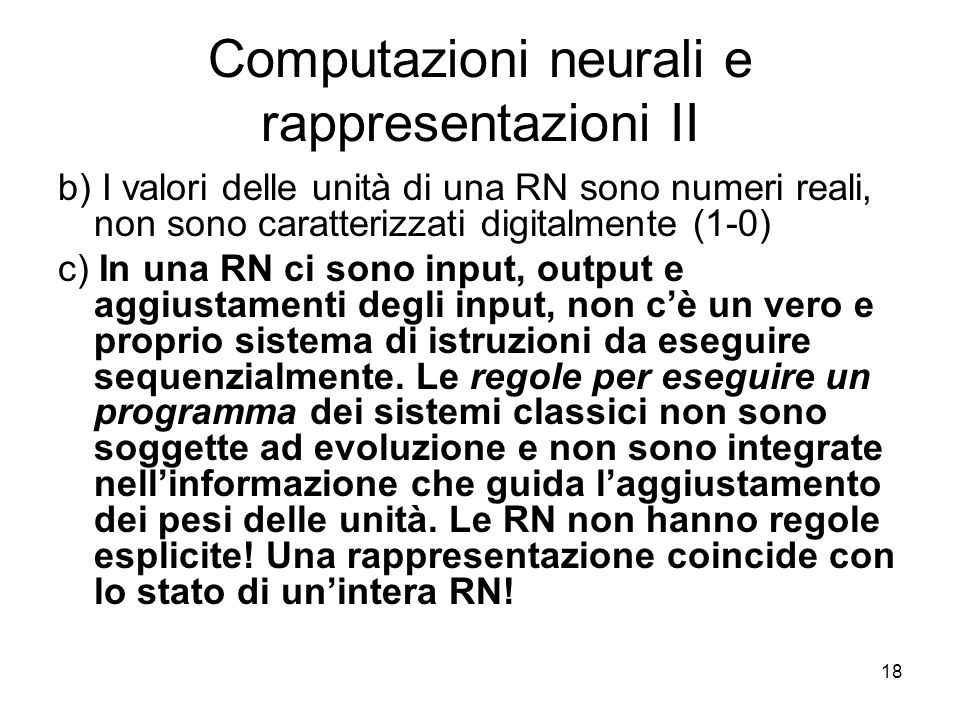 Computazioni neurali e rappresentazioni II