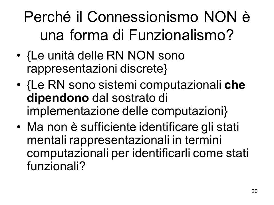 Perché il Connessionismo NON è una forma di Funzionalismo