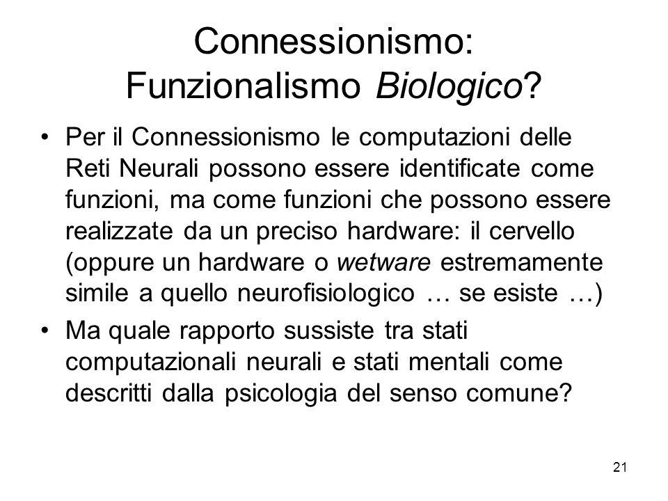Connessionismo: Funzionalismo Biologico