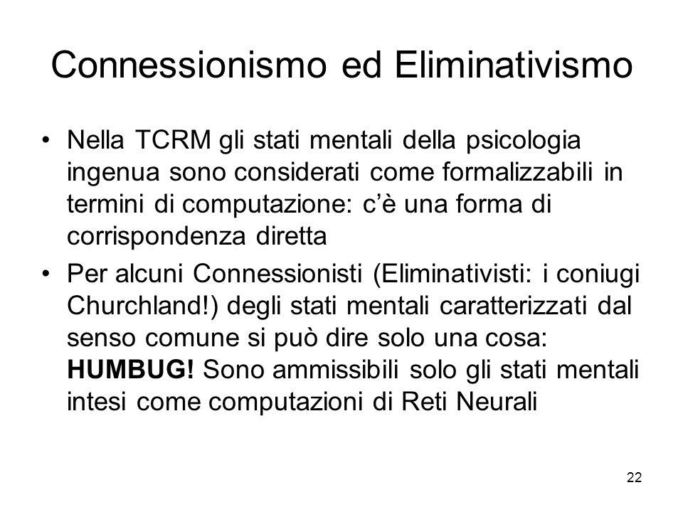 Connessionismo ed Eliminativismo