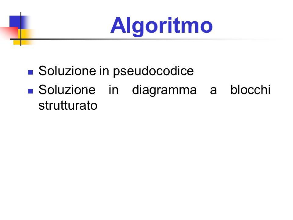 Algoritmo Soluzione in pseudocodice