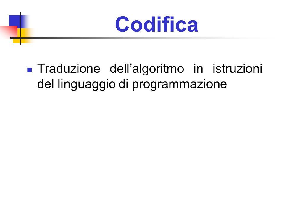 Codifica Traduzione dell'algoritmo in istruzioni del linguaggio di programmazione