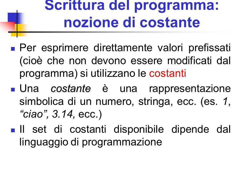 Scrittura del programma: nozione di costante