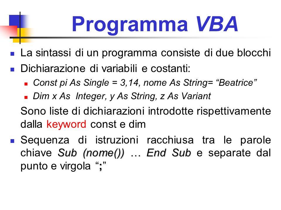Programma VBA La sintassi di un programma consiste di due blocchi