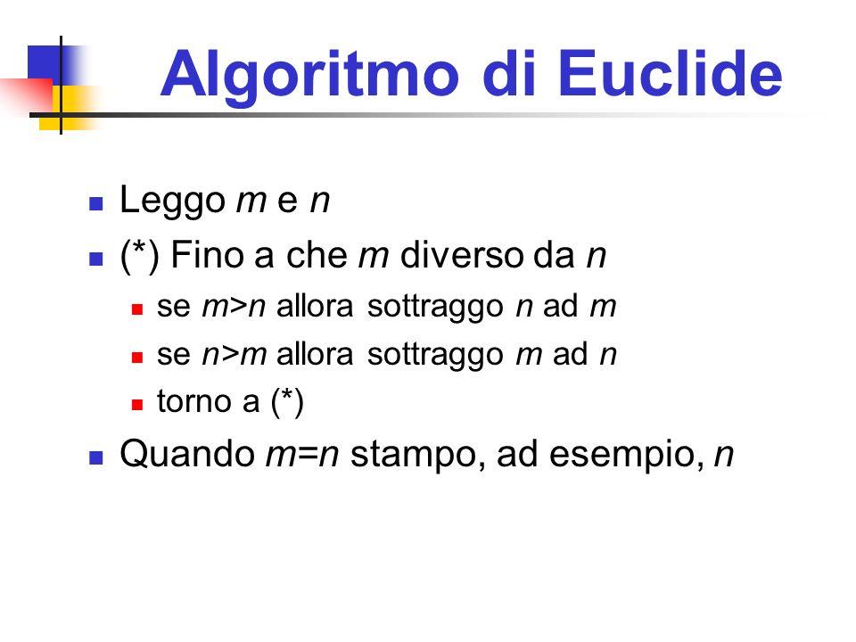 Algoritmo di Euclide Leggo m e n (*) Fino a che m diverso da n